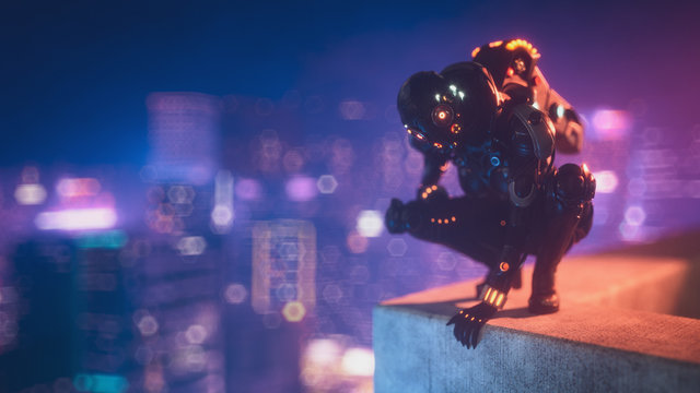 Cyborg female sitting on her haunches on the edge of the concrete roof of tall building looks down at the night city. Sci-fi girl in futuristic black armor suit with jet pack, helmet. 3d illustration