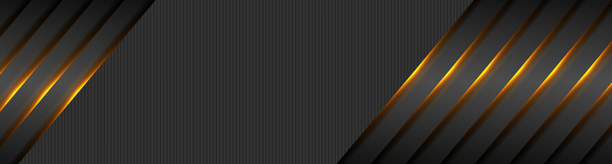 Fotobehang - Black abstract tech banner with orange glowing neon light. Vector futuristic luminous background