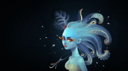 Beautiful squid girl with long wavy hair tentacles in the deep sea. Concept art underwater princess with yellow eyelashes. Portrait of a romantic mermaid with fish in blue tones. Digital illustration.