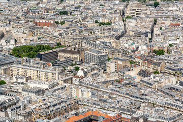 Wall Mural - Aerial view of haussmanian buildigs and streets in Paris, France