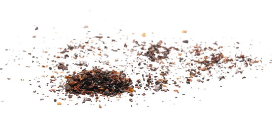 Canvas Prints Hot chili peppers Roasted ground dry chili pepper pile, spicy chopped paprika isolated on white background