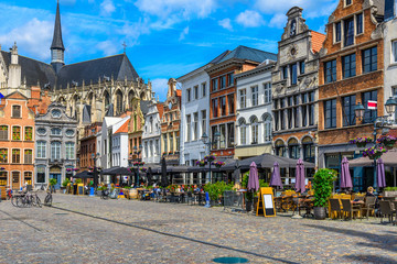 Fotomurales - Grote Markt in Mechelen, Belgium. Mechelen is a city and municipality in the province of Antwerp, Flanders, Belgium.