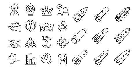 Startup icons Launch Project Business report and Target Vector