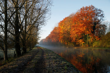 A man walks along the canal as golden, green and rusty leaves colour the autumn in Thun-Leveque