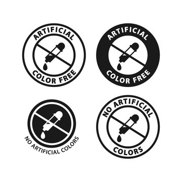 No artificial color circle sticker. Vector label for food packagings.