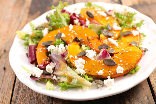pumpkin slice, cheese and lettuce- winter salad