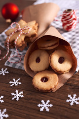Tasty cookies with marmalade for Christmas