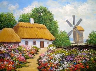 Oil paintings rural landscape, old village in Ukraine. Fine art, artwork, old wooden house