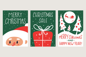 Christmas greeting card with Santa, gift box and tree vector set isolated on background.