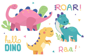 Set of cute dinosaur illustrations. Funny cartoon dino collection with tropic plants and slogans. Hand drawn vector set for kids design, isolated on white background.
