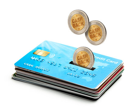 Coins Cashback falls into a credit card. Refund. Bonus payments after the purchase. Isolated on a white background
