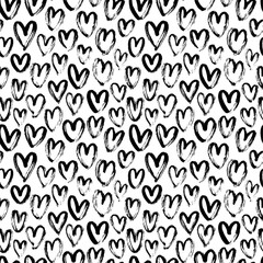 Heart seamless pattern. Black and white ink brush hearts hand drawn ornament. Romantic figures vector illustration.