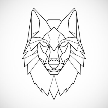 Wolf head icon. Abstract triangular style. Contour for tattoo, logo, emblem and design element. Hand drawn sketch of a wolf