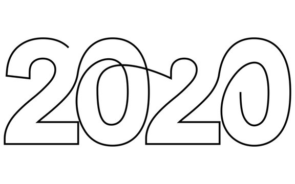 2020 New Year single continuous line art. Holiday greeting card headline decoration. Date numbers concept design. One sketch outline drawing white. Vector illustration