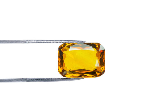 yellow sapphire isolated on white background