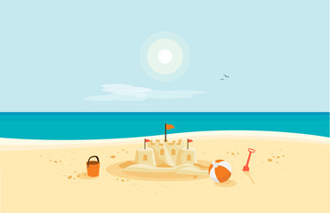 Lonely sand castle on sandy beach with blue sea ocean water and coast line clear summer sunny sky in background. Kid toys left on sand on holiday. Minimalist cartoon style flat vector illustration.