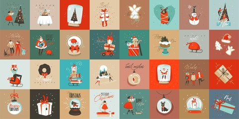 Hand drawn vector abstract fun Merry Christmas time cartoon cards collection set with cute illustrations,surprise gift boxes and handwritten modern calligraphy text isolated on colored background
