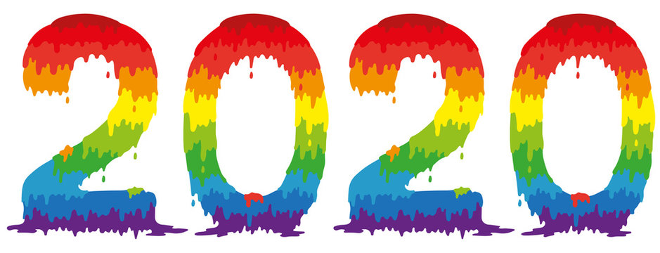 Isolated number 2020 painted in rainbow colors on a white background. Happy new year.