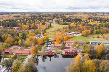 Fotobehang Blauw Aerial view of old village Ruotsinpyhtaa at autumn, Finland.