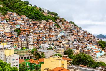 Foto auf Acrylglas Rio de Janeiro Colorful Brazilian favelas slums on the hill, Rio De Janeiro, Brazil