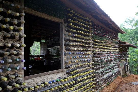 A view of a house built with bottles by farmer Ivone Martins, 50, to overcome a depression after losing a child, in Itaoca