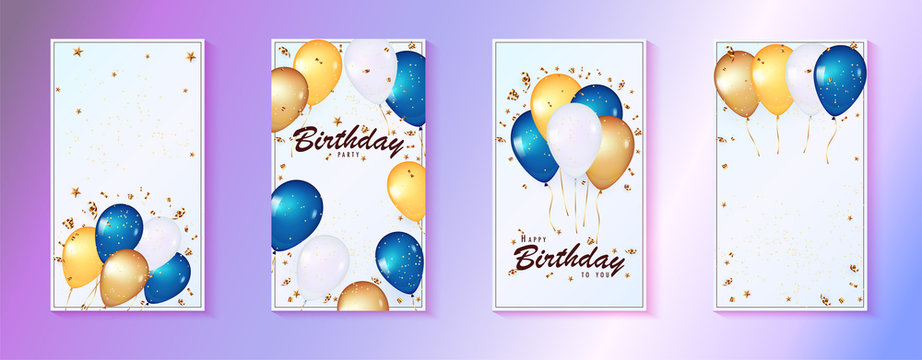 Social media story template. 3d balloons on gentle blue Background. Celebration design with balloons.