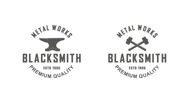Color illustration a set of blacksmith logos on a white background. Vector illustration of anvil, crossed hammers and text. Professional metal work