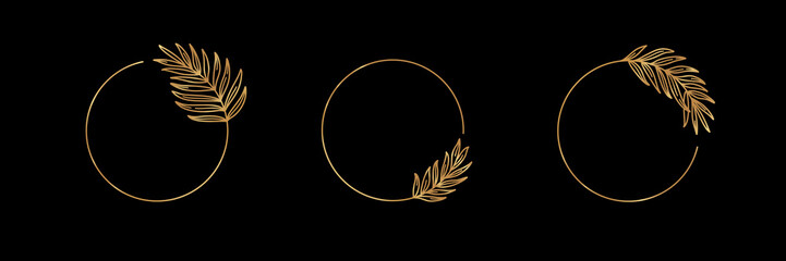 Set of Logos with Golden tropical palm leaf. Round frame in trendy minimal linear style. Vector Emblem with Palm Branch. Template for logo cosmetics, beauty Studio, hairdresser, hand made, jewelry
