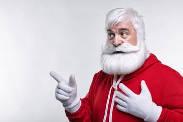Portrait of a Santa Claus in sportsware