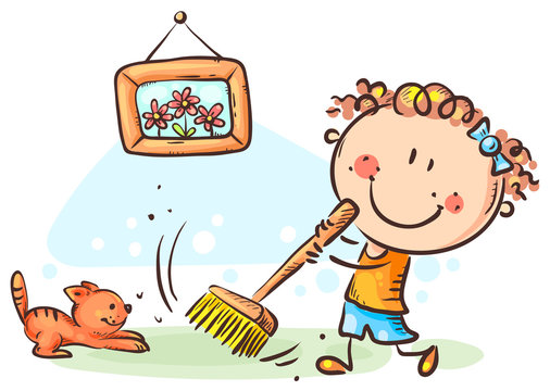 Girl sweeping floor, doing housework, cartoon drawing