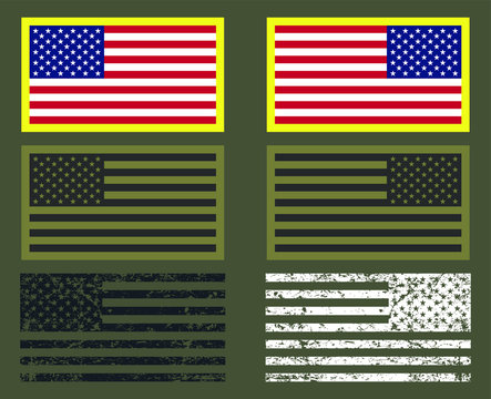 The United States of America flag with official colors. Vector Illustration image. USA National symbol. Grunge style us army military patch.