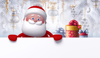 Christmas background with 3d cute Santa Clause wearing knitted red cap and mittens, holding blank banner. Greeting card template. Christmas tree decorated with ornaments. Funny cartoon character.