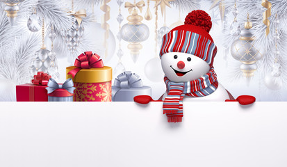 3d render of cute smiling snowman character and gift boxes, decorated Christmas tree, hanging ornaments, balls. Winter holidays background, blank banner, greeting card template, digital illustration