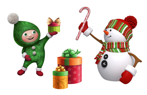 Christmas clip art collection. 3d render of funny snowman, happy smiling elf, wrapped gift box, candy cane, isolated on white background. Seasonal ornaments, decor elements. Festive icon set.