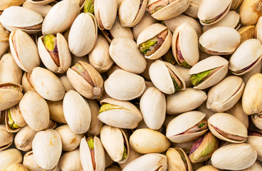 Pistachios background. The view of the top.