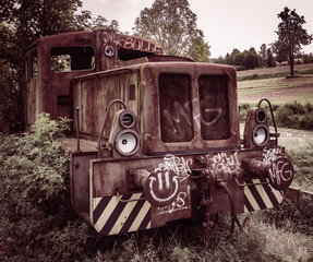 derelict, abandoned and decayed locomotive
