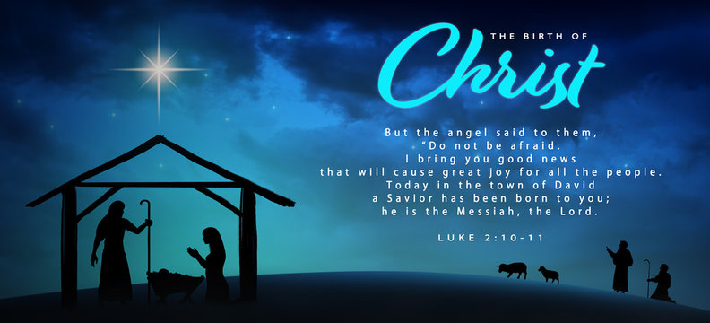 Christmas time. Manger with baby Jesus, Mary, Joseph and star of Bethlehem. Text: The Birth of Christ and Luke 2:10-11