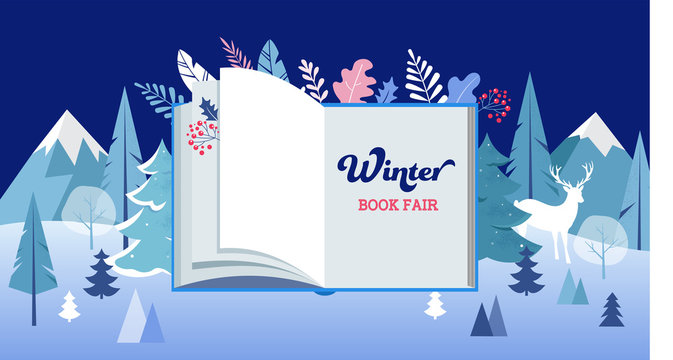 Winter wonderland, Book fair banner with open book and frozen trees. Vector illustration