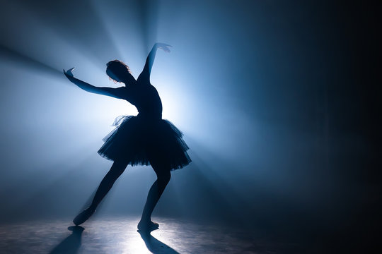 Ballerina in black tutu dress dancing on stage with magic blue light and smoke. Silhouette of young attractive dancer in ballet shoes pointe performing in dark. Copy space.