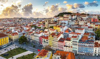 Lisbon cityscape panorama Alfama Portugal, beautiful European city summer, colored houses and roofs Wall mural