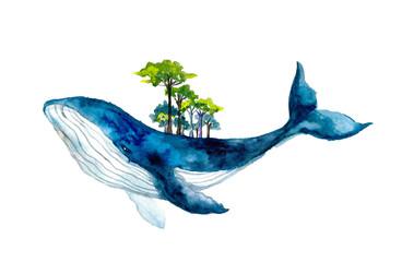 Cute watercolor whale. Dreams illustrations