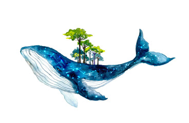 Cute watercolor whale with forest. Fantastic illustration FantasyHoliday wildlife illustration for design, print, sticker or background. Spirit animal