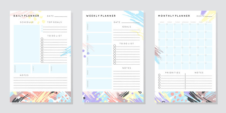 Vector planner templates with hand drawn shapes and textures in pastel colors.Organizer and schedule with place for notes,goals and to do list.Trendy minimalistic style.Abstract modern design.