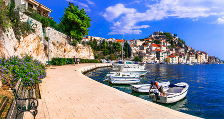 Travel and landmarks of  Croatia - beautiful coastal town Sibenik