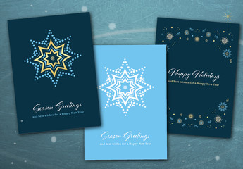 Blue Christmas Card Layout Set with Snowflake Illustrations