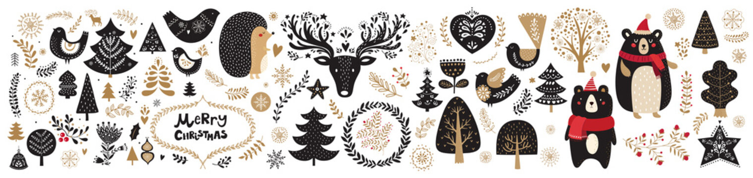 Vector Christmas illustration with  floral ornament and cute animals