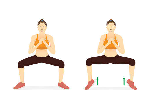 Woman doing Sumo Squat With Calf Raises in 2 step. Illustration about workout diagram of fat leg reduction.
