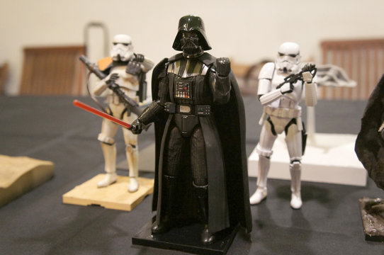 KUALA LUMPUR, MALAYSIA -APRIL 25, 2018: Fictional character action figures of Darth Vader from Star Wars franchise movies display by the collector for the public. The antagonist character against Jedi