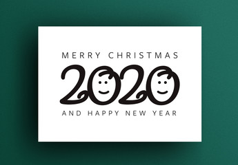 Happy New Year Card Layout with Smiles