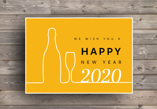 New Year Card Layout with White Wine Bottle and Glass